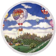 Ballooning Over The Country Round Beach Towel