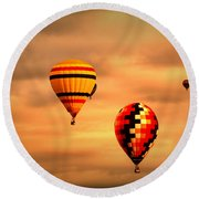 Balloons In The Morning Round Beach Towel