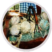 Balls Of Cloth Strips In Basket Round Beach Towel