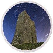 Ballybrit Castle Star Trails Round Beach Towel