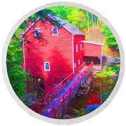 Balmoral Grist Mill Museum Round Beach Towel