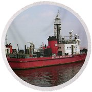 Baltimore Fire Boat 2003 Round Beach Towel