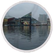 Baltimore Harbor Reflection Round Beach Towel