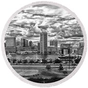 Baltimore Inner Harbor Dramatic Clouds Panorama In Black And White Round Beach Towel