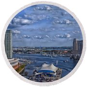 Baltimore Maryland Inner Harbor Round Beach Towel