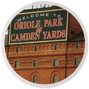 Baltimore Orioles Park At Camden Yards Round Beach Towel