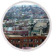 Baltimore Rooftops Round Beach Towel by Carol Groenen
