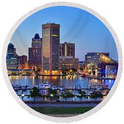 Baltimore Skyline Inner Harbor Panorama At Dusk Round Beach Towel