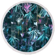 Bamboo And Butterflies Round Beach Towel