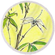 Bamboo And Dragonfly Round Beach Towel