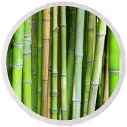 Bamboo Background Round Beach Towel by Carlos Caetano