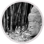 Bamboo Landscape  Statue Asian  Round Beach Towel