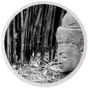 Bamboo Landscape  Statue Asian  Round Beach Towel