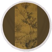 Bamboos And Orchids In The Wind Round Beach Towel