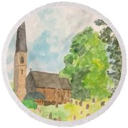 Bamford Church And Serenity Of Nature Round Beach Towel