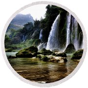 Ban Gioc Vietnam's Most Beautiful Waterfall  Round Beach Towel