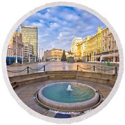 Ban Jelacic Square In Zagreb Advent View Round Beach Towel