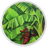 Banana Tree Flower Round Beach Towel