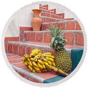 Bananas And Pineapple On Terracotta Steps Round Beach Towel