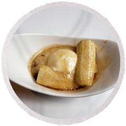 Bananas Foster In A White Dish Round Beach Towel