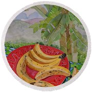 Bananas On A Plate Round Beach Towel