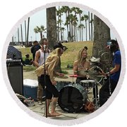 Band Playing 2 Round Beach Towel