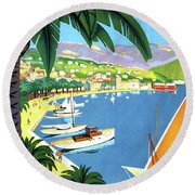 Bandol, French Riviera, Boats On Port Round Beach Towel