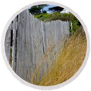 Bandon Beach Fence Round Beach Towel