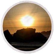 Bandon Beach Silhouette Round Beach Towel