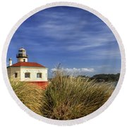 Bandon Coquille River Lighthouse Round Beach Towel