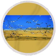 Bandon Gulls Round Beach Towel