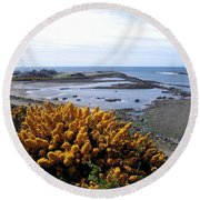 Bandon Harbor Entrance Round Beach Towel
