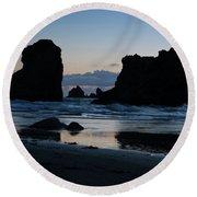 Bandon Oregon Sea Stacks Round Beach Towel