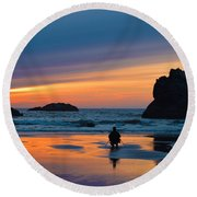 Bandon Sunset Photographer Round Beach Towel