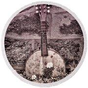 Banjo Mandolin On Garden Wall Round Beach Towel