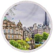 Bank Of Scotland And Skyline Edinburgh Round Beach Towel