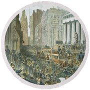 Bank Panic, 1884 Round Beach Towel