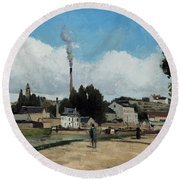 Banks Of The Oise At Pontoise Round Beach Towel