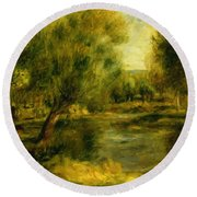 Banks Of The River Round Beach Towel