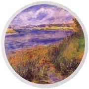 Banks Of The Seine At Champrosay Round Beach Towel