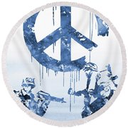 Banksy Soldiers-blue Round Beach Towel