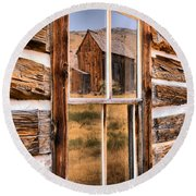 Bannack Reflection In The Past Round Beach Towel