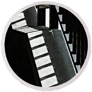Bannister And Shadows Round Beach Towel