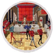 Banquet, 15th Century Round Beach Towel