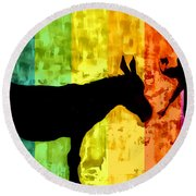 Bansky In Colors Round Beach Towel