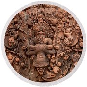 Banteay Srei Bas Relief Carvings - Cambodia Round Beach Towel