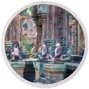 Banteay Srey Temple Pink Monkeys Round Beach Towel