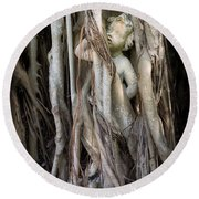 Banyan Grows Over Statue Round Beach Towel