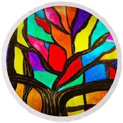 Banyan Tree Abstract Round Beach Towel