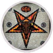 Baphomet - Satanic Pentagram - 666 Round Beach Towel